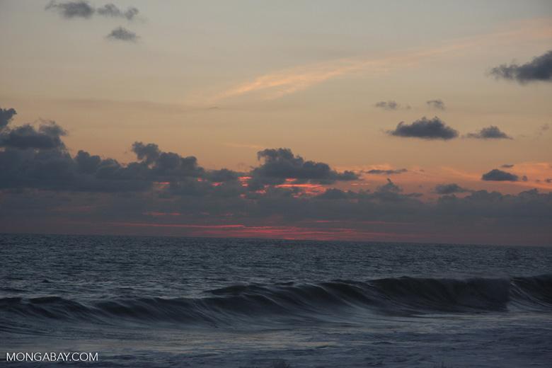 Waves breaking on an Osa Peninsula beach at sunset [costa-rica-d_0540]