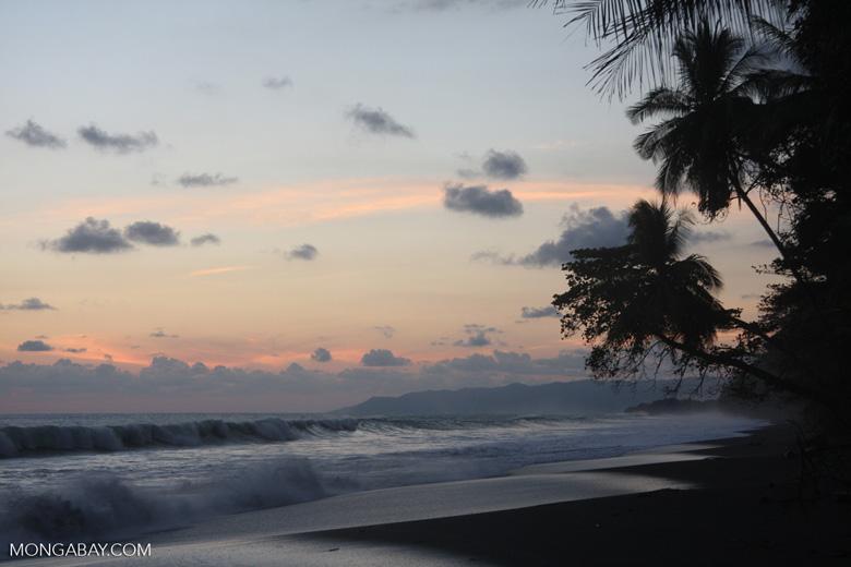 Waves breaking on an Osa Peninsula beach at sunset [costa-rica-d_0542]