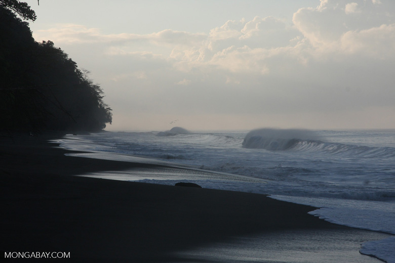 Waves breaking on an Osa Peninsula beach [costa-rica-d_0546]