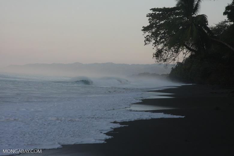 Waves breaking on an Osa Peninsula beach [costa-rica-d_0555]