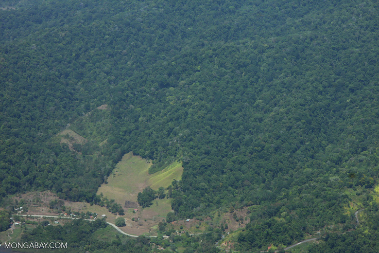 Aerial view of rainforest clearing for cattle pasture in Costa Rica