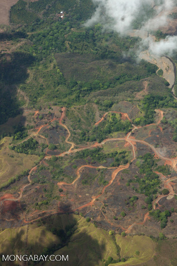 Aerial view of a logged and burned area in Costa Rica
