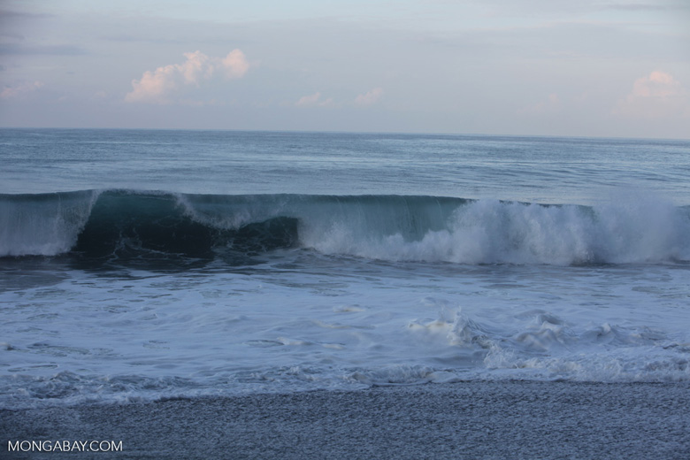 Waves breaking on an Osa peninsula beach