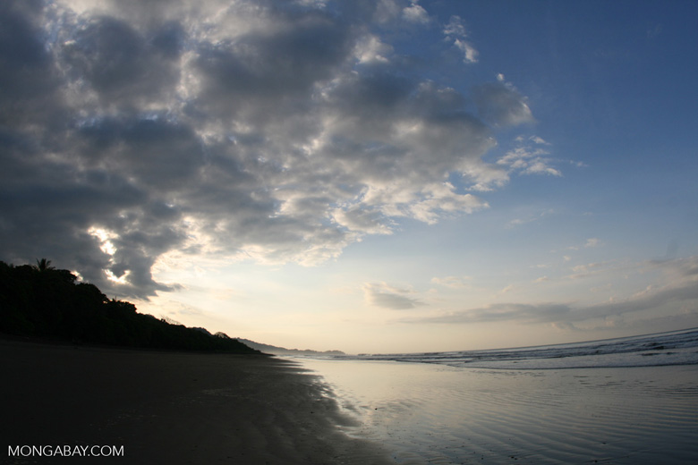 Looking down a beach towards Dominical, Costa Rica
