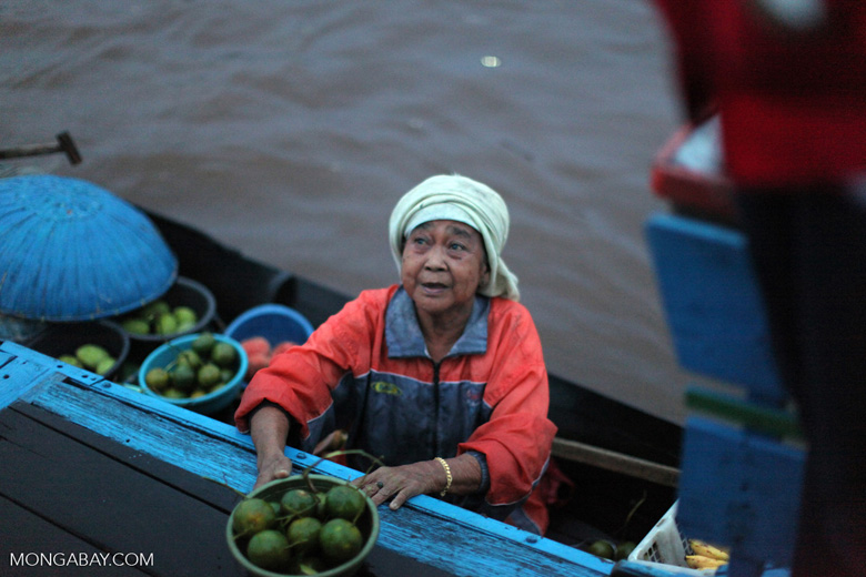 Woman selling oranges at the floating market in Banjarmasin