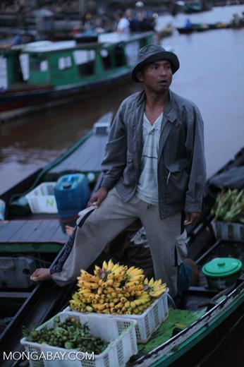 Man selling bananas at the floating market in Banjarmasin