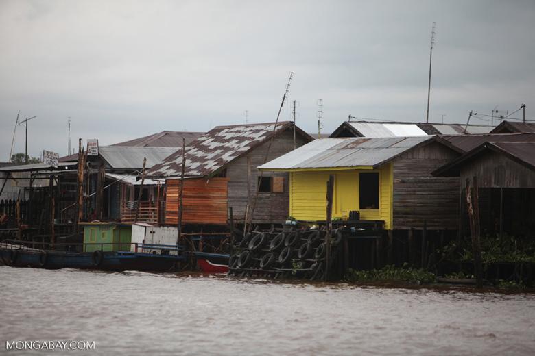 Houses along the Barito river in Banjarmasin