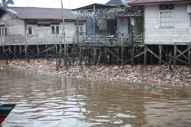 Trash along the river in Banjarmasin