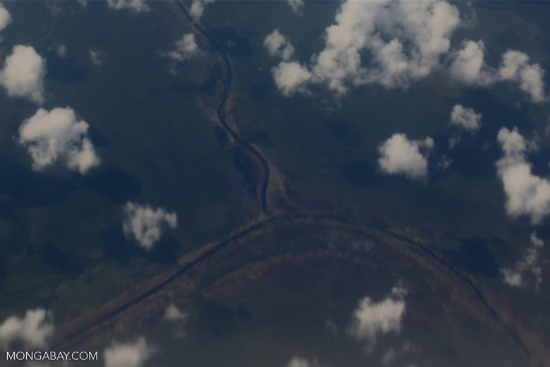 Overhead view of peat lands in Central Kalimantan