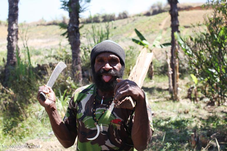 Lani man carrying firewood and a machete