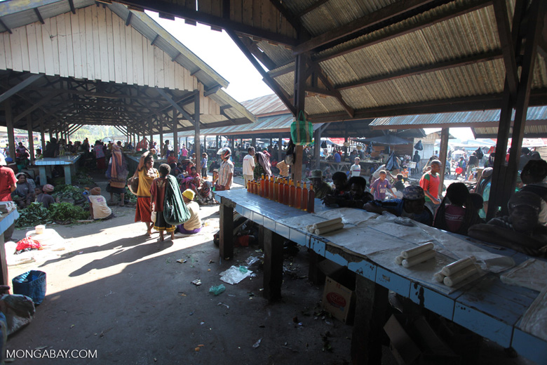 Honey for sale in a New Guinea market