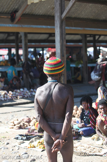 Traditionally dressed Papuan man in the Wamena market
