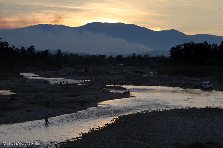 Highland river at sunset