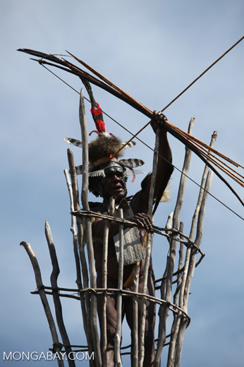 Dani elder in traditional dress with a bow and arrow atop a watch tower