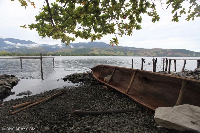 Canoe on a Lake Sentani beach