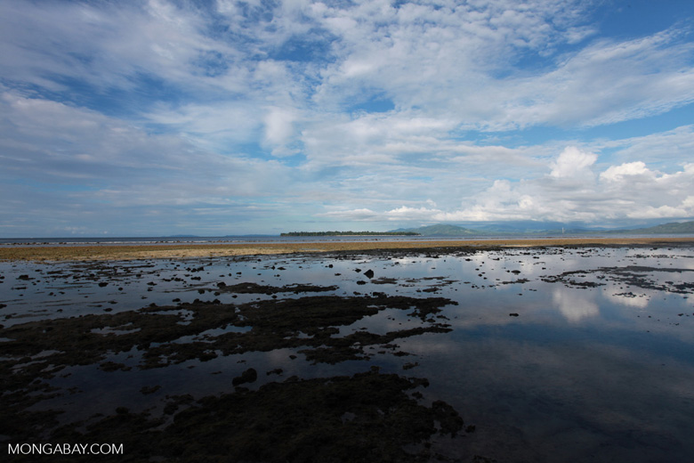 Bunaken tidepools with Siladen Island in the background