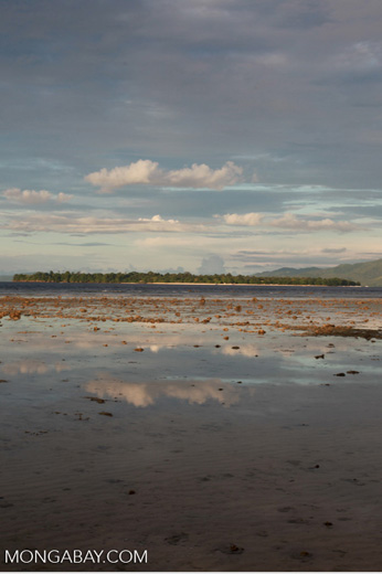 Tidepool on Bunaken Island with Siladen in the distance