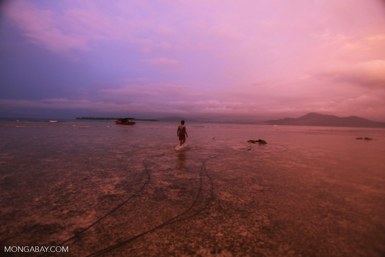 Indonesian fisherman at sunset
