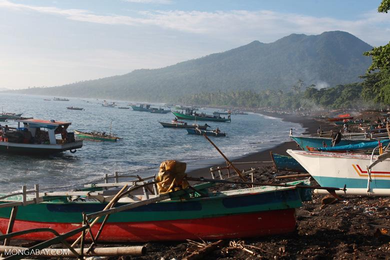 Beach near Batu Putih, a fishing village in North Sulawesi, with Tangkoko Reserve in the background