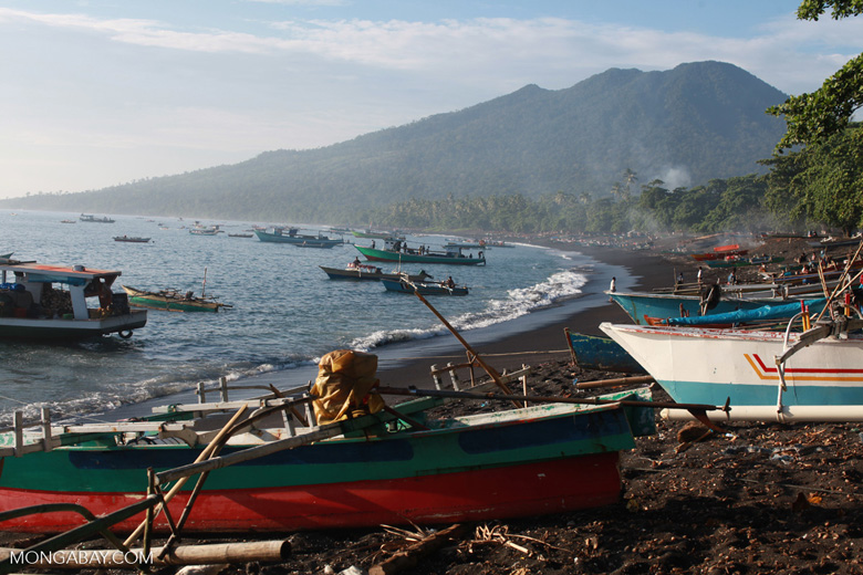 Beach near Batu Putih, a fishing village in North Sulawesi, with Tangkoko Reserve in the background
