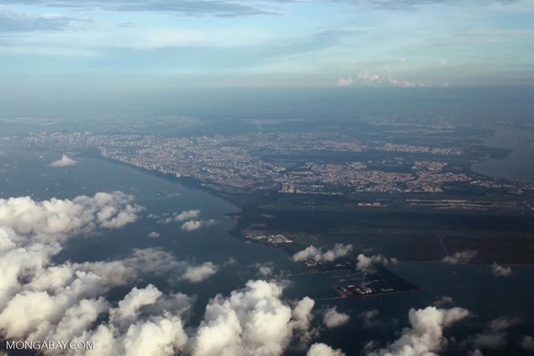 Airplane view of Singapore