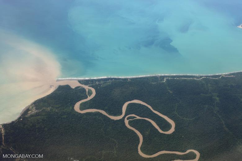 Jungle river reaching the coast of New Guinea