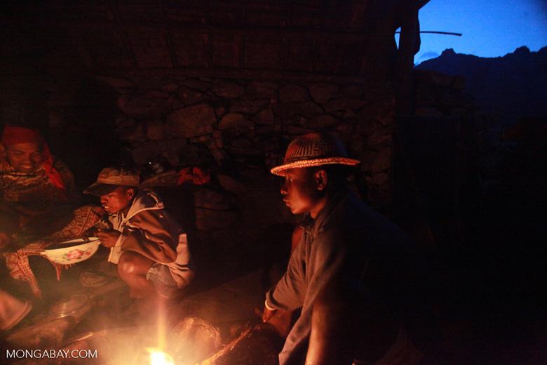 Malagasy around a campfire