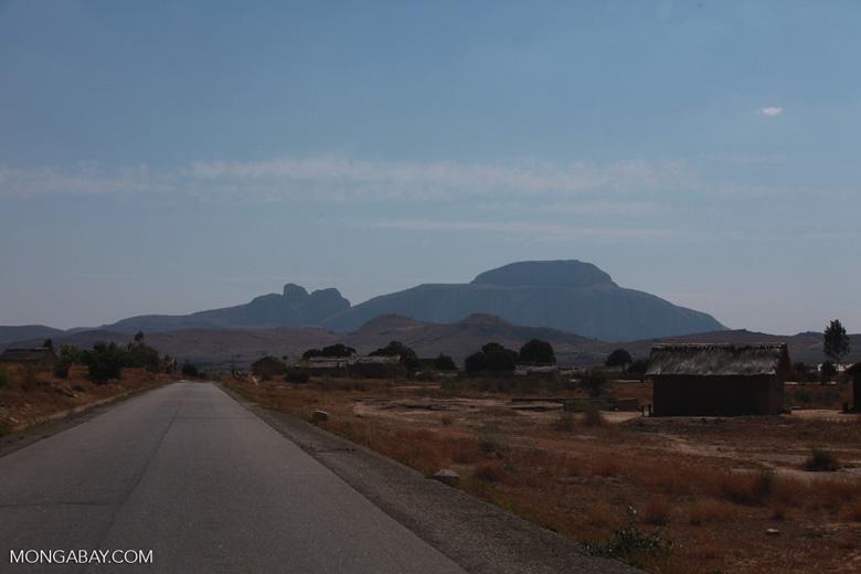 Rock formation Bonnet de L'Evêque seen in the distance