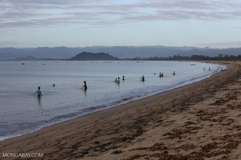 Villagers fishing on a beach in Maroantsetra [madagascar_maroantsetra_0277]