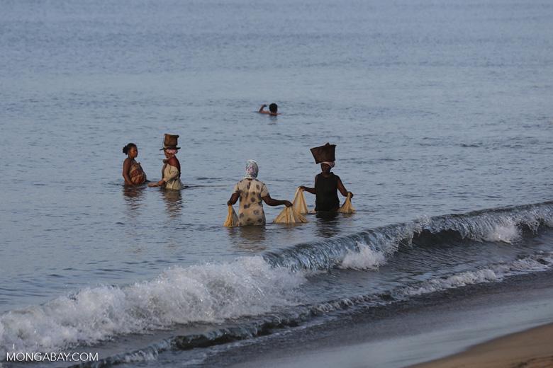 Villagers fishing on a beach in Maroantsetra [madagascar_maroantsetra_0289]