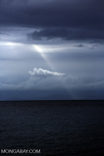 Sunbeam over the ocean