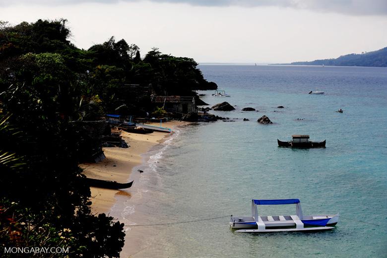 Boats along a beach on Nosy Komba [madagascar_nosy_komba_0110]