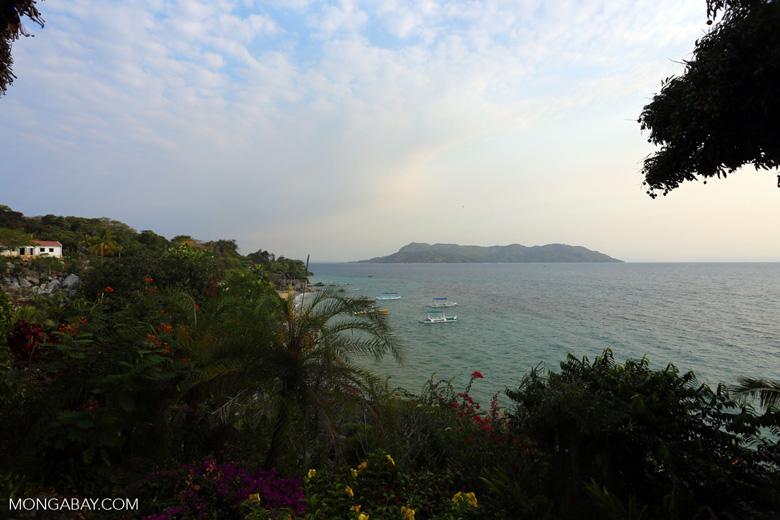 Beach and coast on Nosy Komba as seen from the Jardin Vanille Hotel