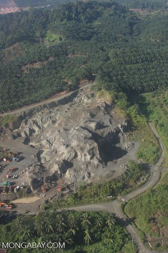 Mining among oil palm plantations