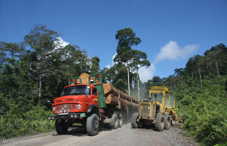 Tractor and a logging truck on a logging road -- borneo_2924