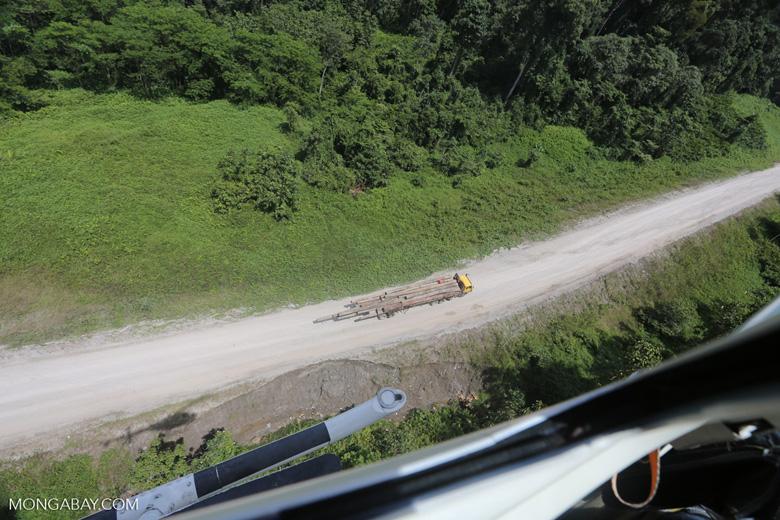 Logging truck in Borneo -- sabah_aerial_0963