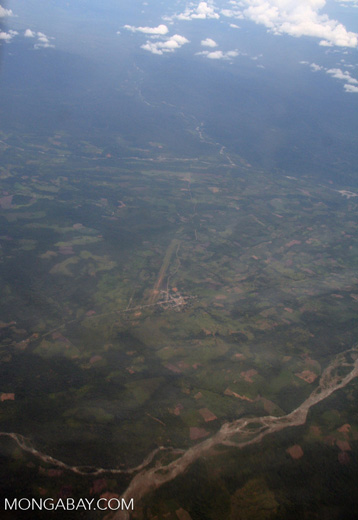 Amazonian town and surrounding deforestation and agricultural fields