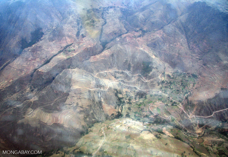 Aerial view of terraces in the Andes