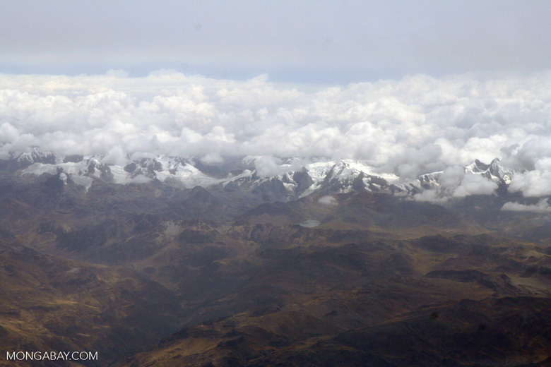 Snow-capped peaks in the Peruvian Andes