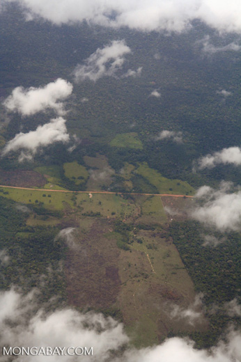 Aerial photo of deforestation along road in the Amazon