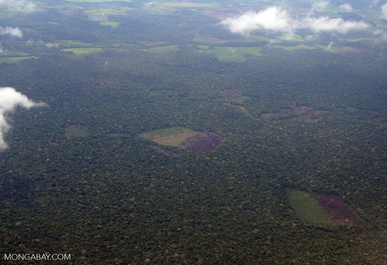Aerial view of deforestation in the Amazon rainforest