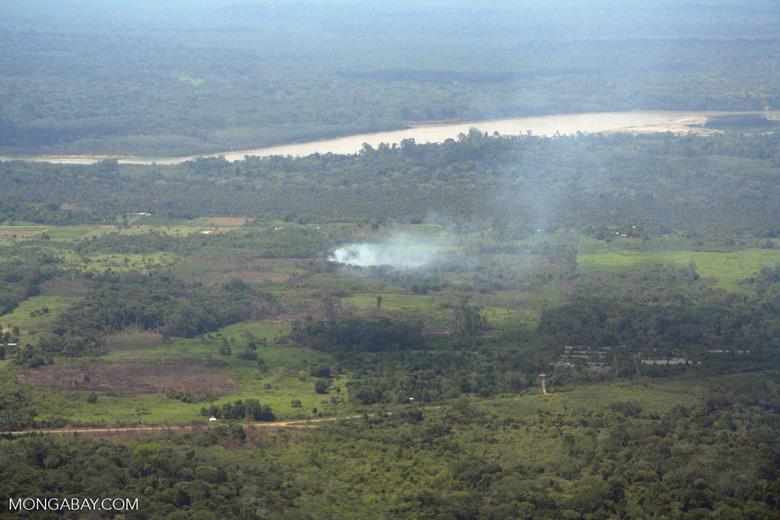 Agricultural burning along the Rio Tambopata