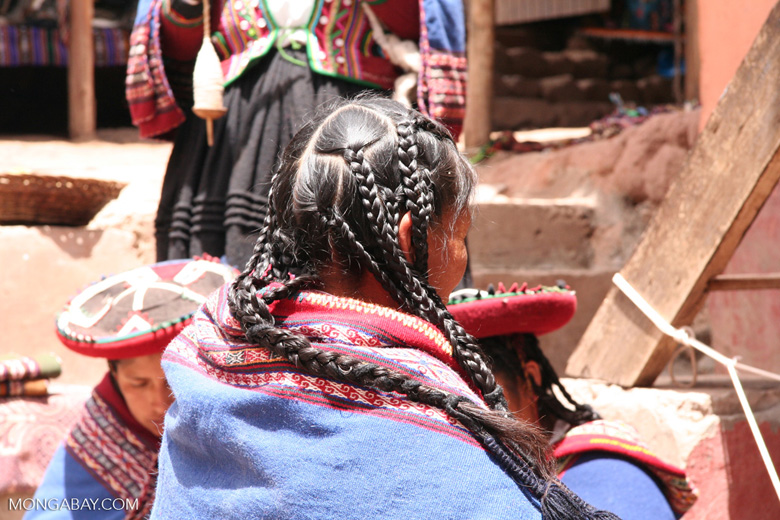 Quencha woman showing her braided hair