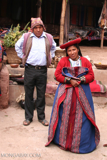Andean woman in traditional Quencha clothing