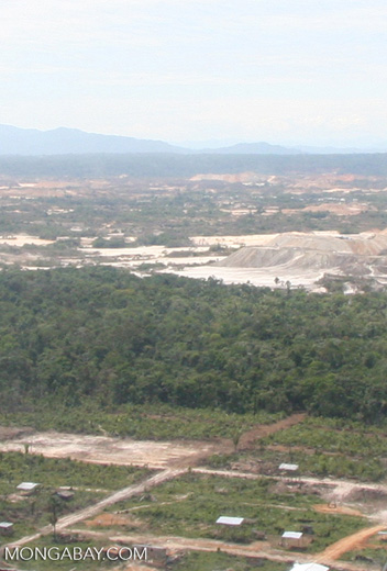 Airplane view of clear-cutting for slash-and-burn agriculture in the Peruvian Amazon