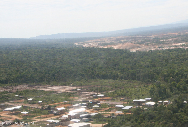 Aerial view of slash-and-burn agriculture in the Amazon