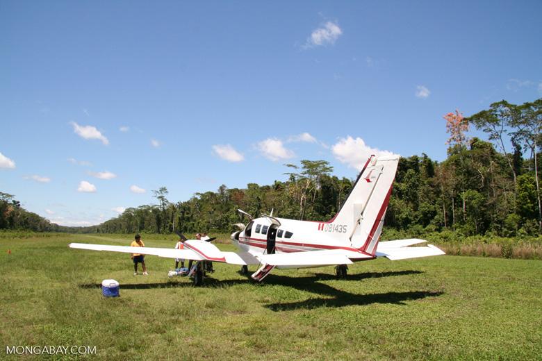 402C Utililiner (Cessna) plane on landing strip near Boca Manu in the Peruvian Amazon