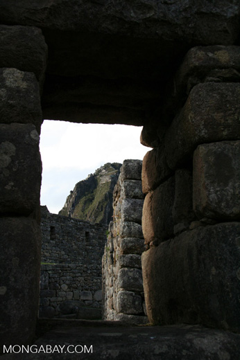 View through doorway at Machu Picchu