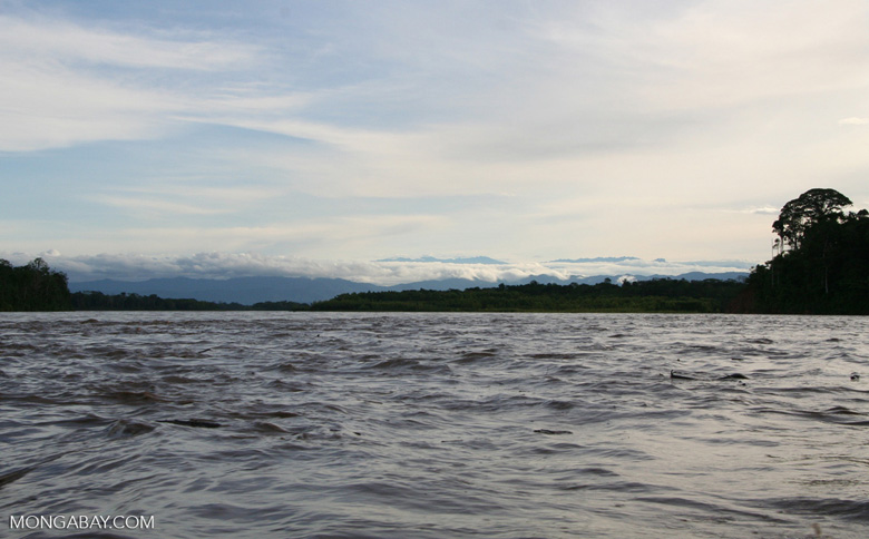View  up the Tambopata river of Andes foothills