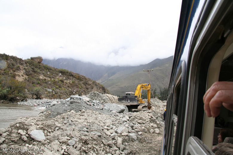 Site of mudslide that covered the railroad tracks to Machu Picchu
